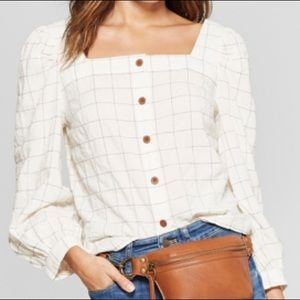 Long Sleeve Square Neck Button Shirt